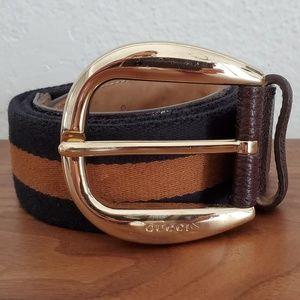 Authentic GUCCI navy brown gold unisex belt 36